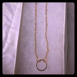 "Gold Circle Necklace 17"" L W/2 inch extension"